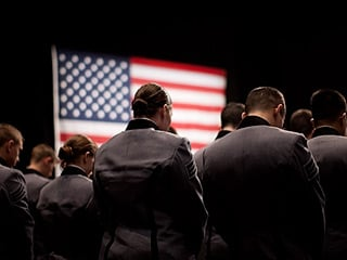 West Point cadets listen to President Barack Obama's Afghanistan policy speech. (©White House/Lawrence Jackson)