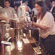 The good folks at Fred's didn't know what they were getting into letting me behind the bar!  I'm so frenzied my friend Dan couldn't even get a clear picture!  (&copy Dan Johnson)