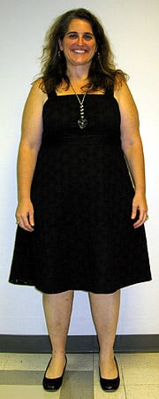 Look!  I actually own clothes that aren't gym clothes!  This is me on 9/3/08... 56 pounds down!